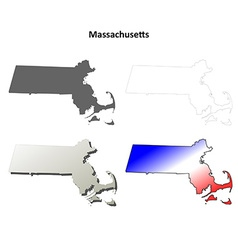 Massachusetts outline map set vector image vector image