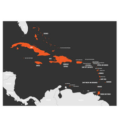 political map of carribean orange highlighted vector image