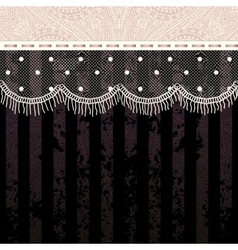 Polka dot fringe lace on black background vector