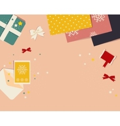 Preparing for christmas banner top view with gift vector