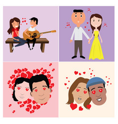 Set of in-love characters vector