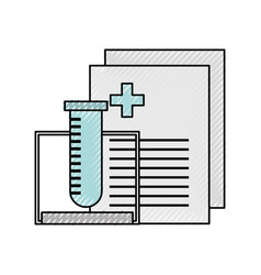 Tube test with medical order document icon vector