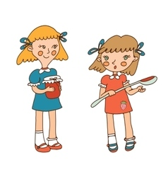 two little girls and jam vector image vector image