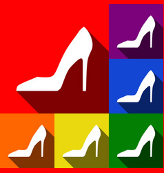 Woman shoe sign set of icons with flat vector