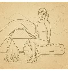 Woman sitting at camp vector image