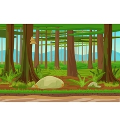 Cartoon classic forest woods landscape with trees vector