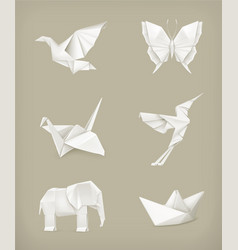 Origami set white vector