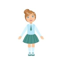 Girl In Blue Skirt And Tie Happy Schoolkid In vector image