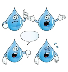 Crying water drop set vector