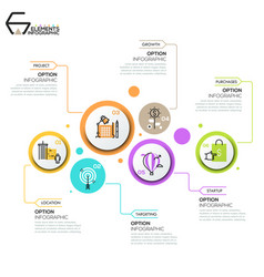 Modern infographic design layout 6 round elements vector