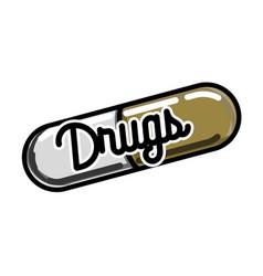 Color vintage drugs emblem vector