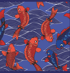 Seamless pattern with koi carps and waves on a vector