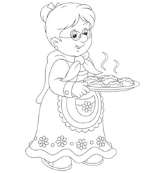 Granny with pies vector