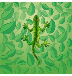 Green lizard among foliage vector