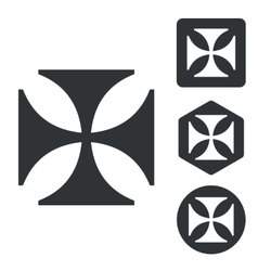 Maltese cross icon set monochrome vector