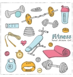 Set of fitness bodybuilding diet and health care vector
