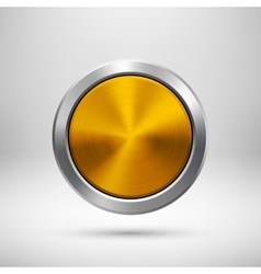 Gold technology circle metal badge vector
