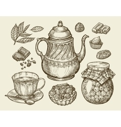 Food tea dessert hand drawn vintage teapot vector