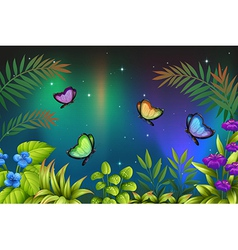 A morning view with butterflies vector