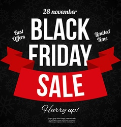 Black friday sale banner with Ribbon vector image vector image