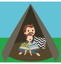Dad father and son kids reading book story in tent vector