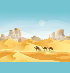 desert with convoy or camel caravan vector image