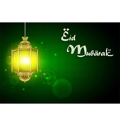 Eid Mubarak with illuminated lamp vector image vector image