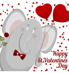 Elephant wishes happy valentines day vector