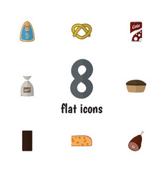 Flat icon meal set of confection meat fizzy vector