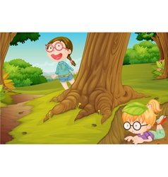 girls playing in nature vector image