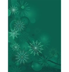 green background with delicate snowflakes vector image vector image