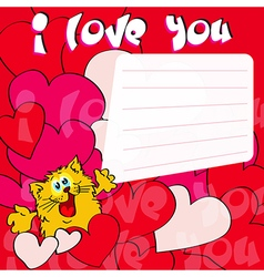 Greeting card i love you with cat and hearts vector