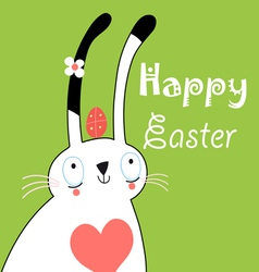 greeting card with bunny for Easter vector image vector image