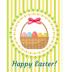 Happy easter greeting card flyer poster with a vector