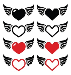 Heart with wings icons set vector