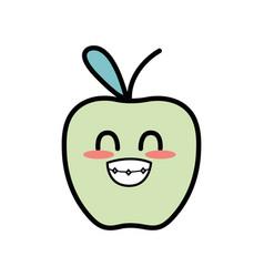 Kawaii cute funny apple fruit vector