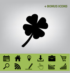 Leaf clover sign black icon at gray vector