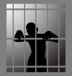 Man in prison or dark dungeon behind bars vector