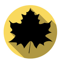Maple leaf sign flat black icon with flat vector