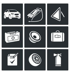 Necessary accessories car driver icon set vector