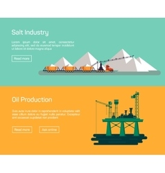 Oil offshore platform and salt production vector