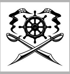 pirates emblem - steering wheel and crossed swords vector image vector image
