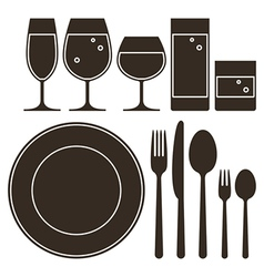 Plate knife fork spoon and drinking glasses vector