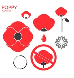Poppy icon set vector