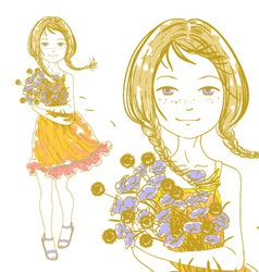 pretty girl bouquet vector image vector image