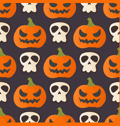 pumpkin head halloween seamless pattern background vector image