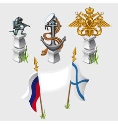 Russian and naval flag emblem symbols monument vector