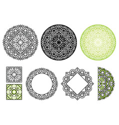 Set elements from floral mandala mandala vector