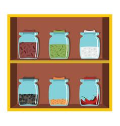 Set flat cartoon shelf spices vector
