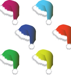 Set of multi-colored hats and caps for Santy vector image
